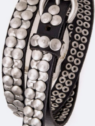Black Skinny Studded Belt