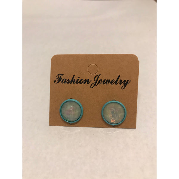 Blue Bezel Stud Earrings