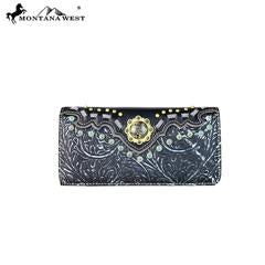 Black Embroidered Collection Wallet