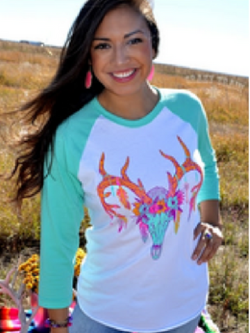 Buck Feathers & Flowers Baseball Tee