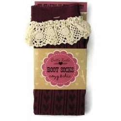 Burgundy Hearts With Crotchet Top Boot Socks