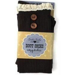 Brown With Buttons And Crotchet Top Boot Sock