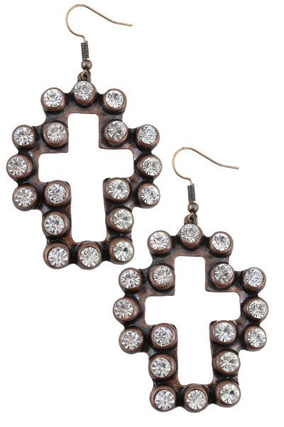 Crystal Outlined Cross Dangle
