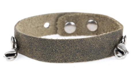 Olive Leather Cuff Silver