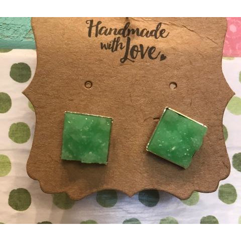 Square Druzy Earrings 12mm
