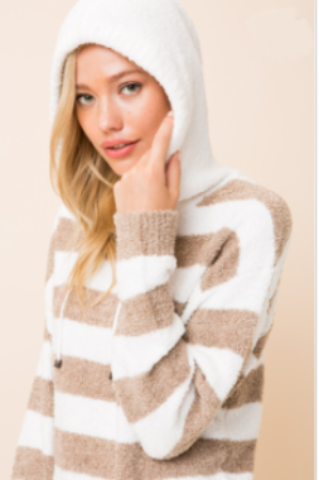 Striped Hooded Fuzzy Sweater