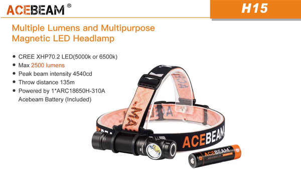 Acebeam H15 Magnetic Ring Angle Headlamp (Stock Light)