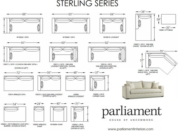 Sterling Sofa and Sectional Series - Parliament Interiors