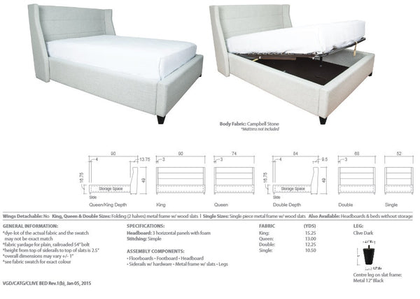 Clive Storage Bed - Lift Series
