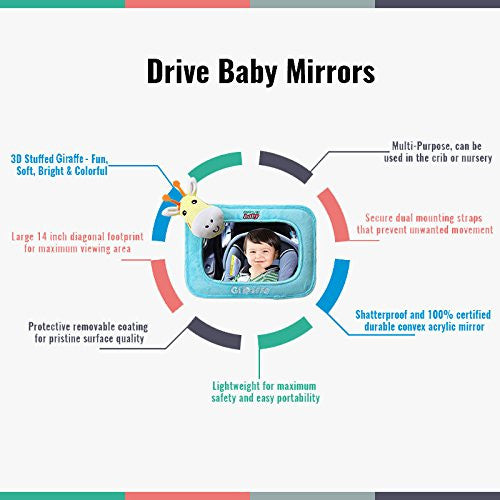 Rear Facing Car Baby Mirror, Giraffe