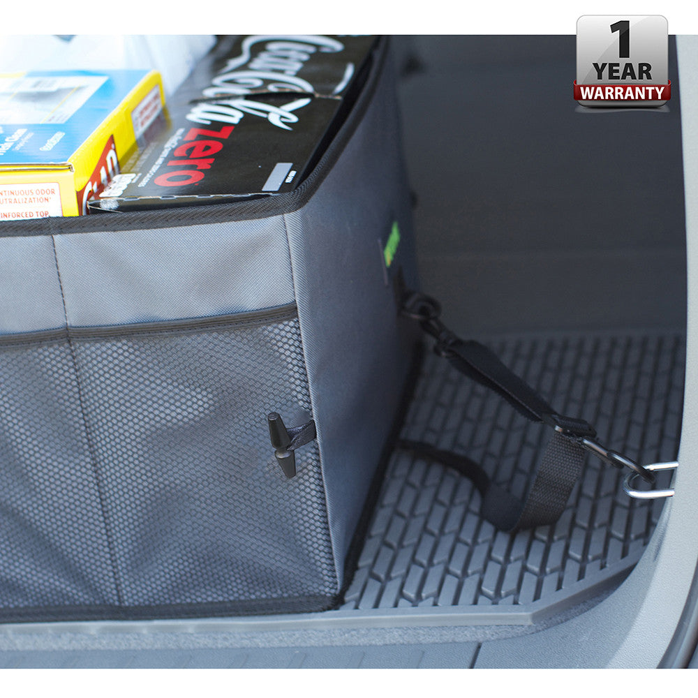 Car Trunk Organizer - Storage with Straps, Gray
