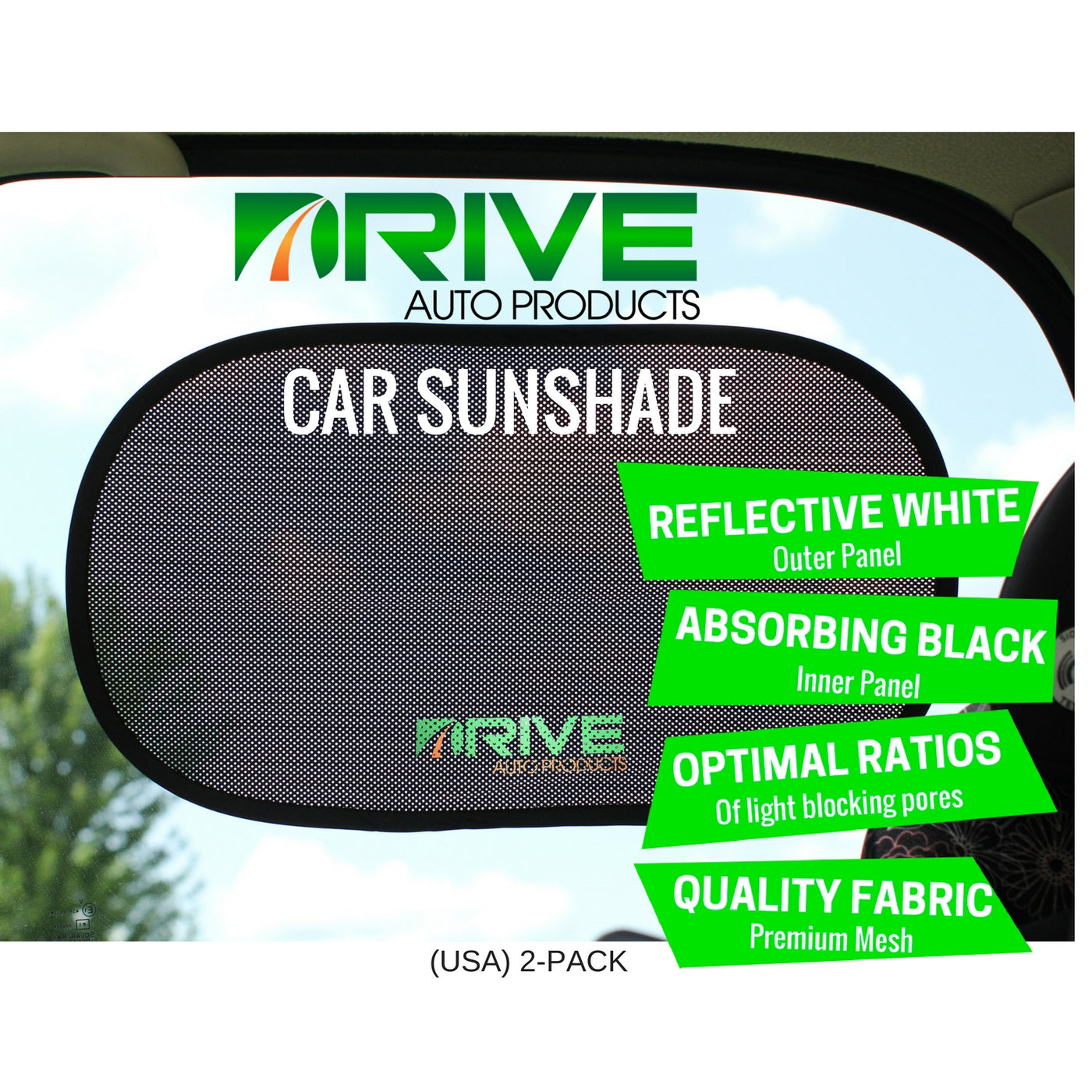 Car Window Shade (2-Pack), White Reflection Series