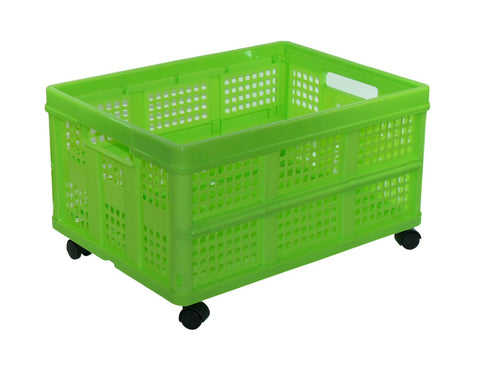 Vented Folding Crate: Set of 4 Casters