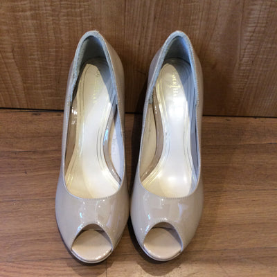 Cole Haan Tan Patent Leather Peep Toe Heels Size 9