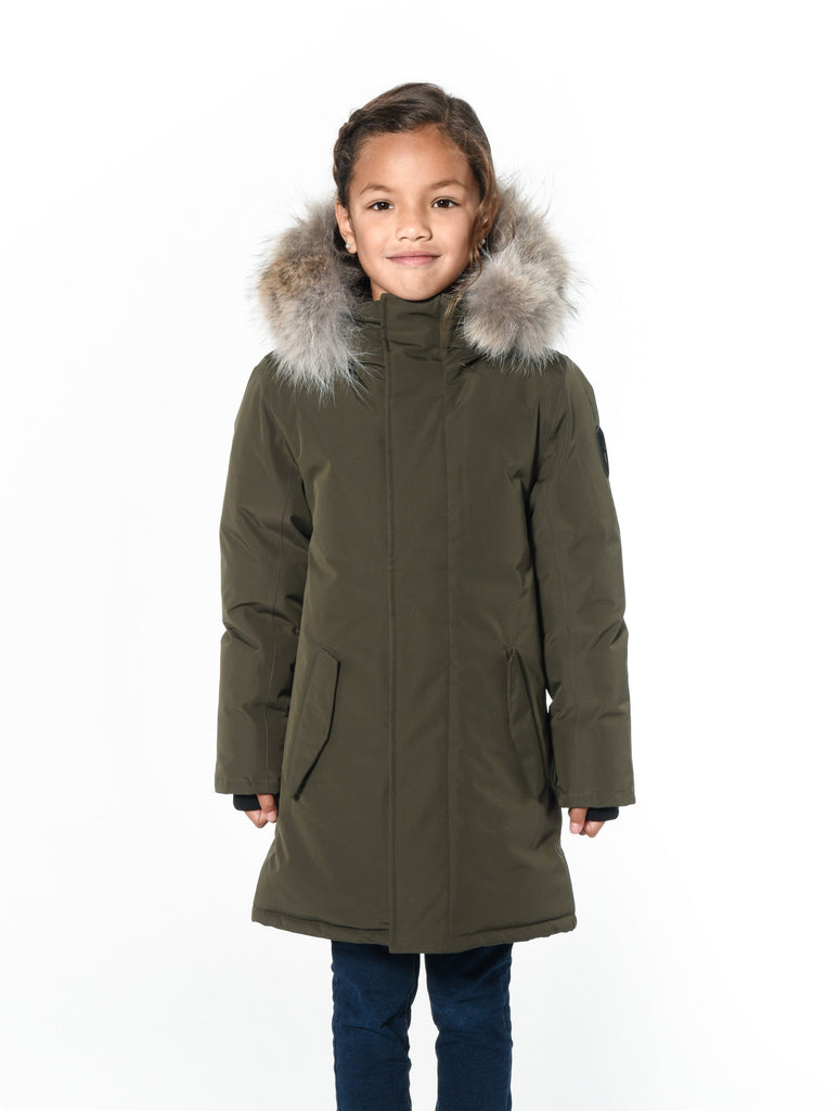 Kids' thigh length down-filled parka with non-removable hood and removable coyote fur trim in Fatigue