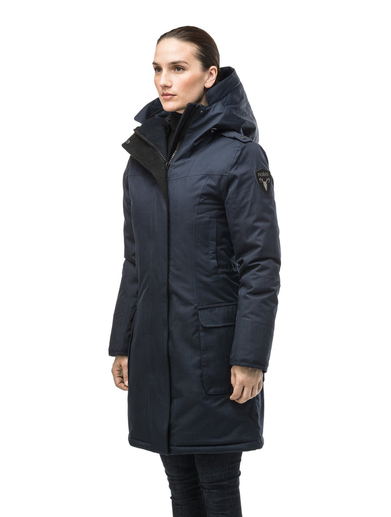 CH Navy down filled parka with removable fur hood trim