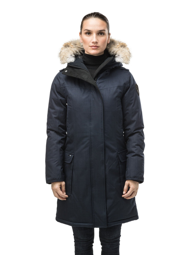 Women's knee length down filled parka with fur trim hood in CH Navy