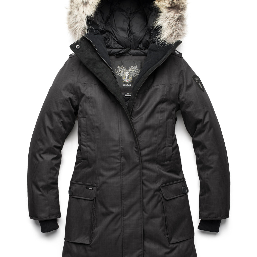 Women's knee length down filled parka with fur trim hood in CH Black