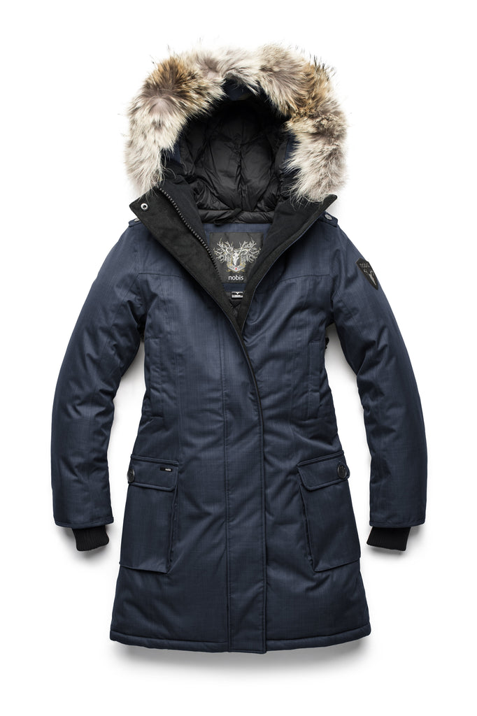 CH Navy down filled parka with coyote fur trim on the hood