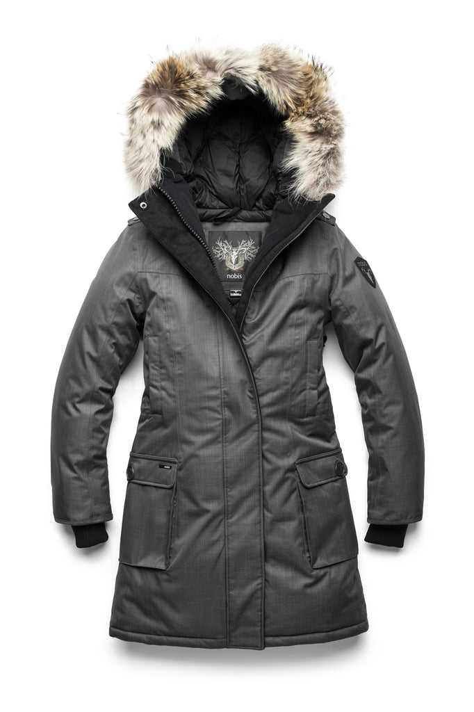 CH Steel Grey Women's Parka with two front pockets, removable fur trim on the hood and magnetic closure