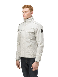 Men's waist length military style jacket in Light Grey