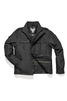 Men's waist length military style jacket in Black