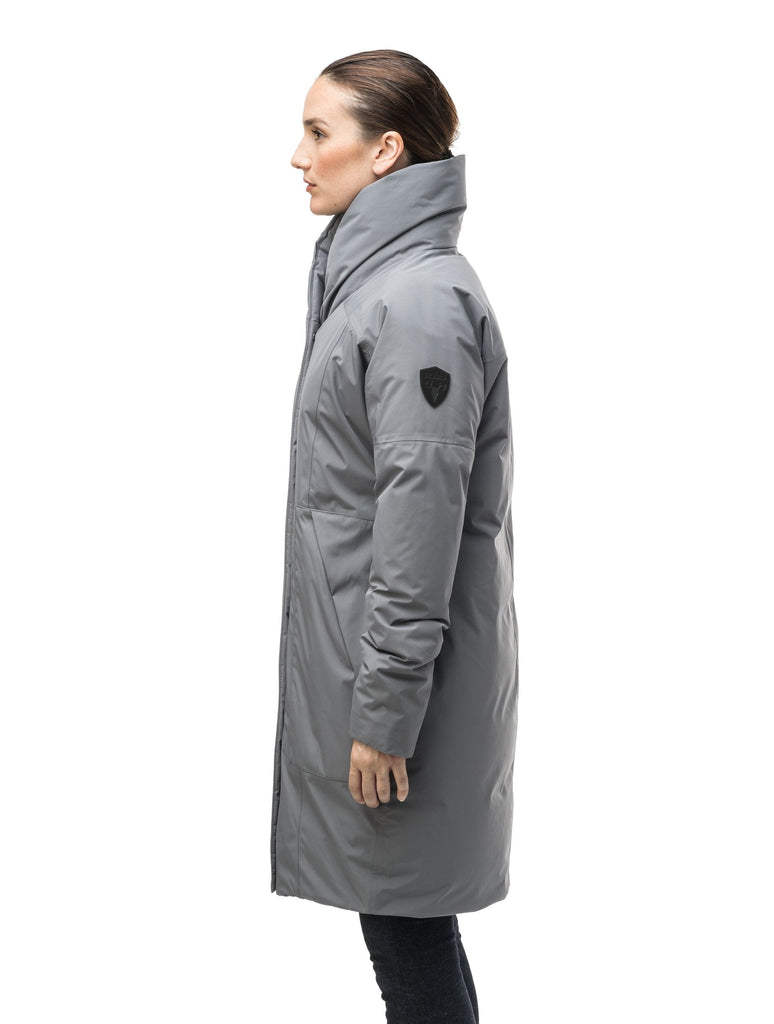 Women's down filled parka with cocoon silhouette and a beautiful shawl collar in Concrete