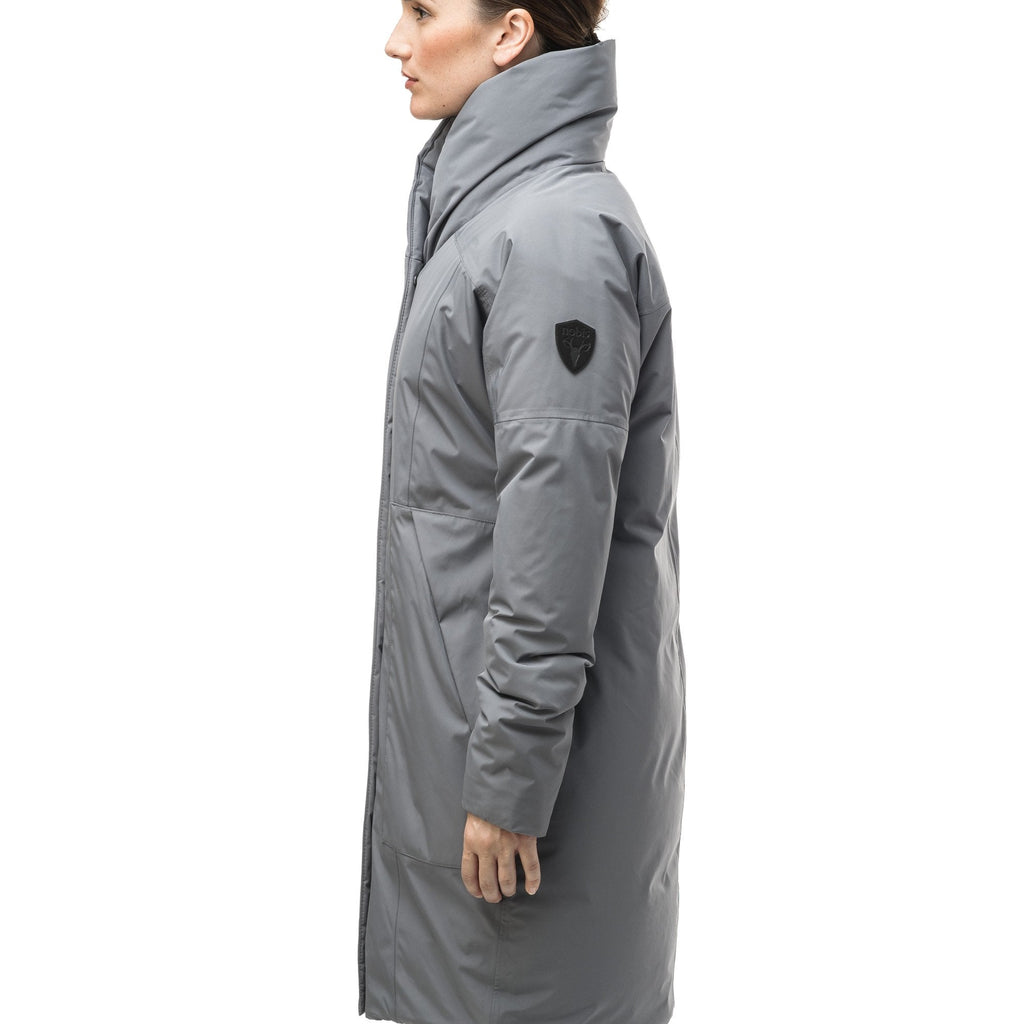 Women's down filled parka with cocoon silhouette and a beautiful shawl collar in Concrete.
