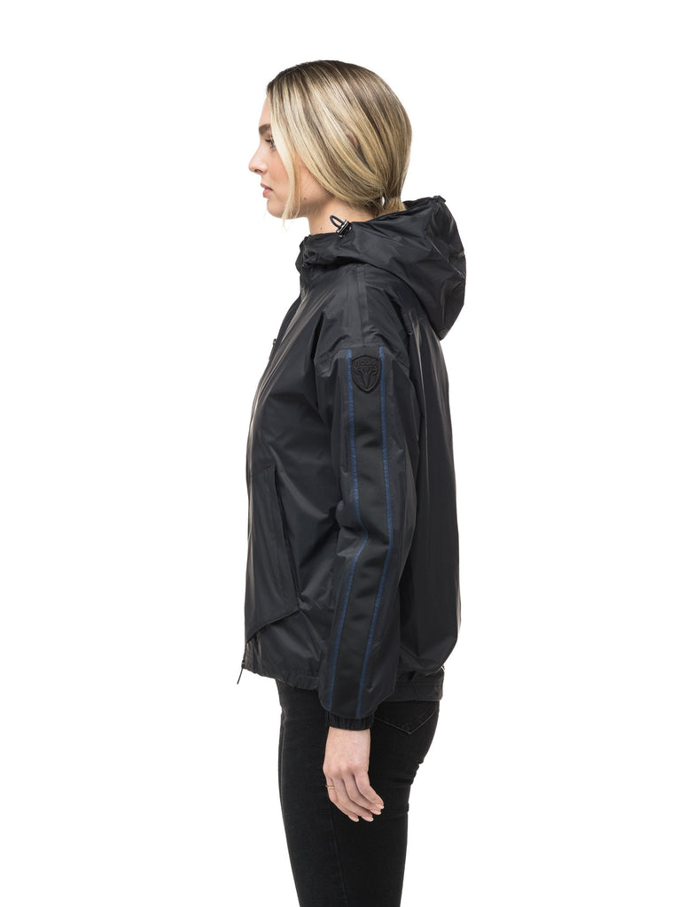 Women's waist length windbreaker with hood in Black