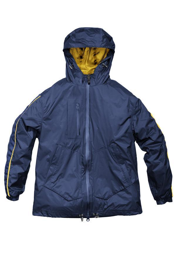 Women's waist length windbreaker with hood in Marine