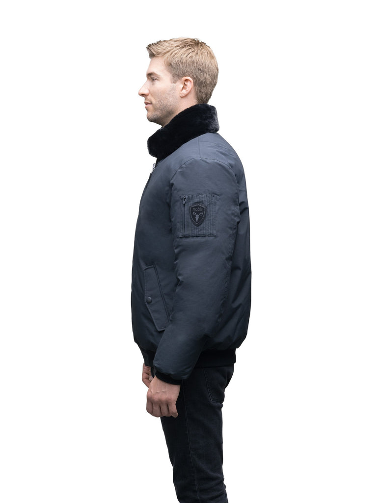 Men's classic down filled bomber jacket with a minimal design in Cy Black