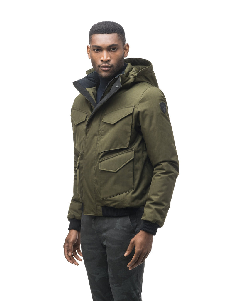 Men's waist length bomber with four huge pockets on the front in Fatigue