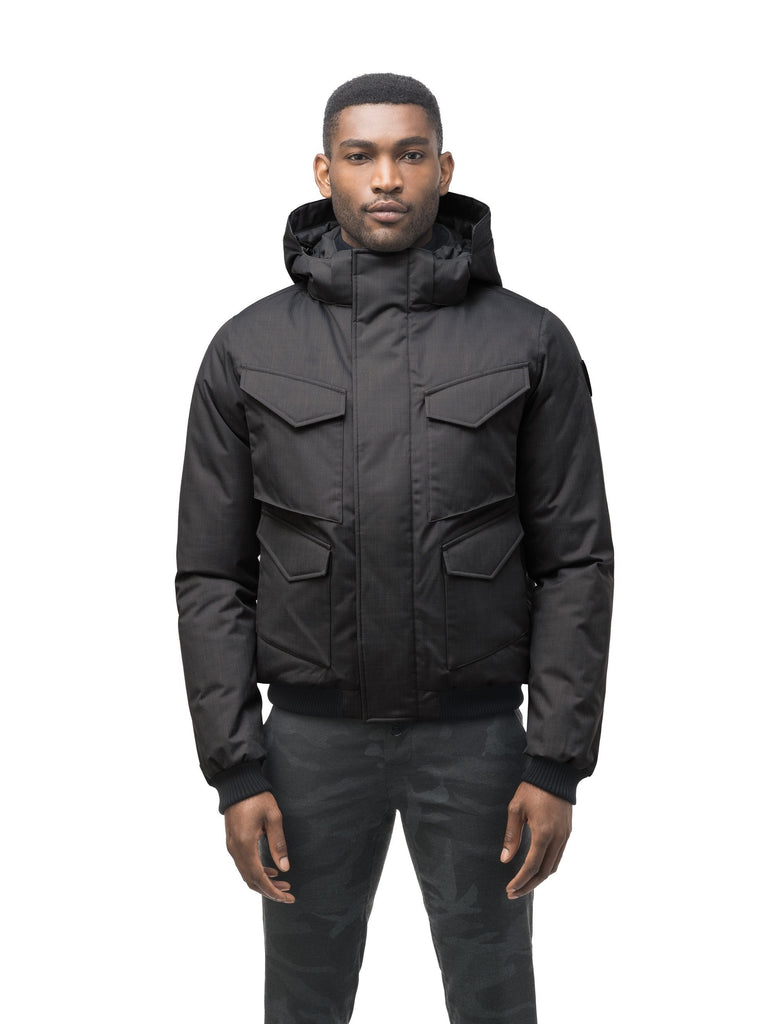 Men's waist length bomber with four huge pockets on the front in Black