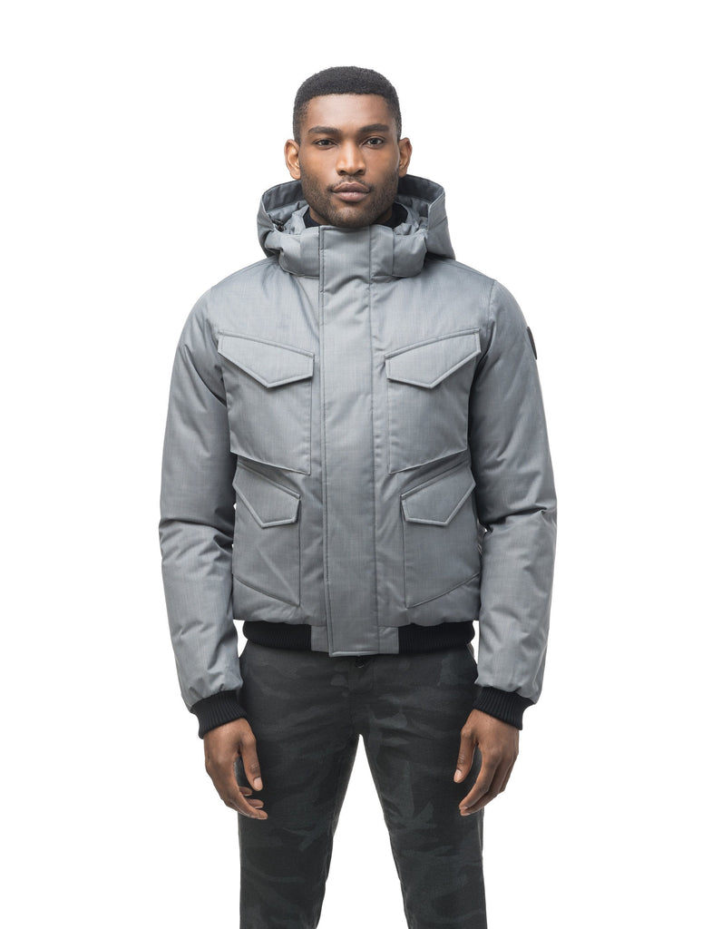 Men's waist length bomber with four huge pockets on the front in Concrete