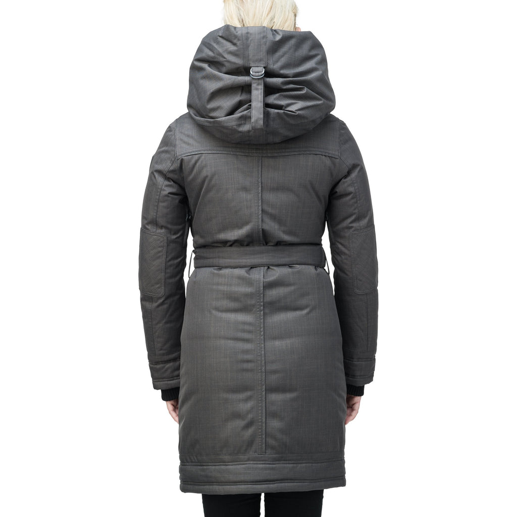 Women's Thigh length own parka with a furless oversized hood in CH Steel Grey