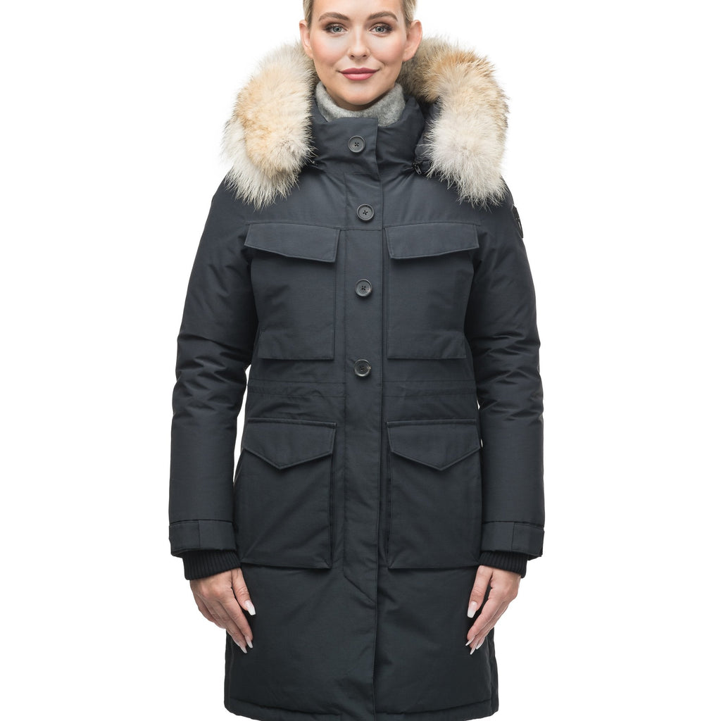 Women's knee length down filled parka with two chest patch pockets and two waist patch pockets in Black
