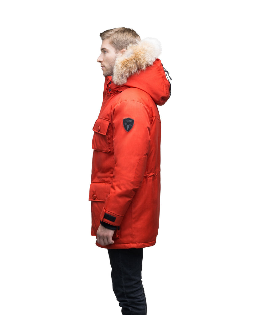 Men's down filled parka with four patch pockets and an adjustable waist with removable hood and removable fur trim in CH Red, CH Army Green, CH Black, CH Steel Grey, or CH Navy