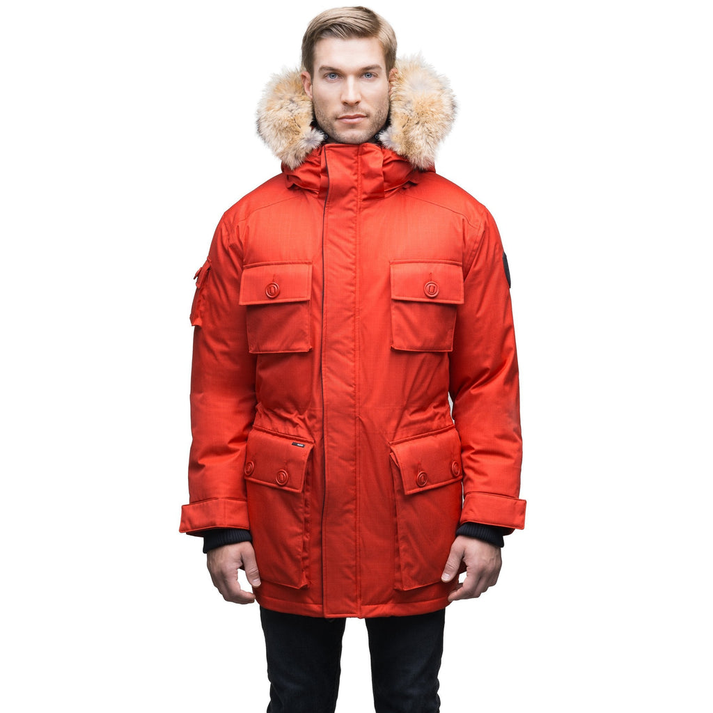 Men's down filled parka with four patch pockets and an adjustable waist with removable hood and removable fur trim in CH Red