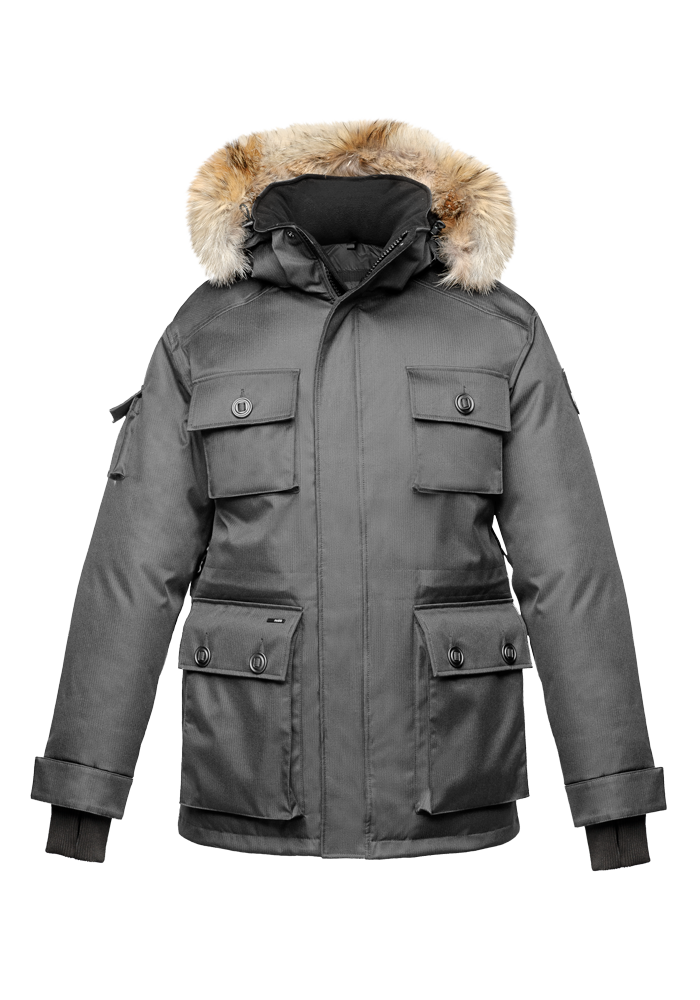 Men's down filled parka with four patch pockets and an adjustable waist with removable hood and removable fur trim in CH Steel Grey