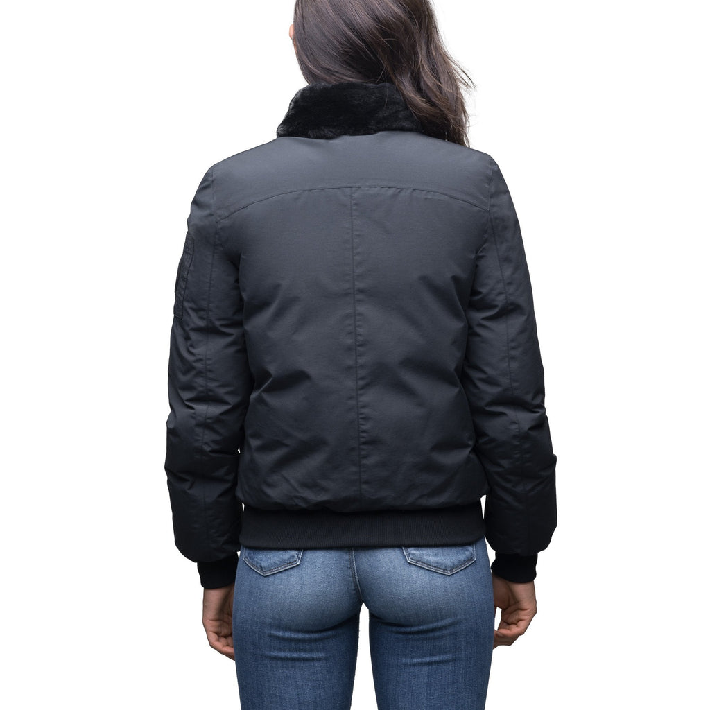 Women's hip length sleek down filled bomber jacket with removeable faux fur trim in Cy Black