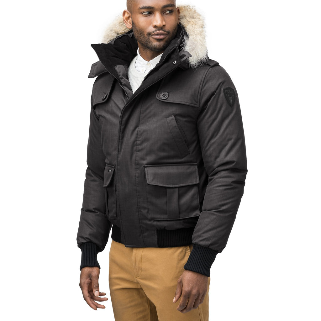 Men's down filled bomber that sits just above the hips with a completely removable hood that's windproof, waterproof, and breathable in Black