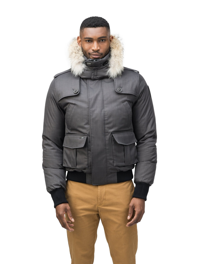 Men's down filled bomber that sits just above the hips with a completely removable hood that's windproof, waterproof, and breathable in H. Charcoal