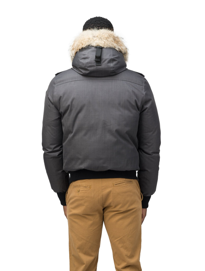 Men's down filled bomber that sits just above the hips with a completely removable hood that's windproof, waterproof, and breathable in CH Steel Grey