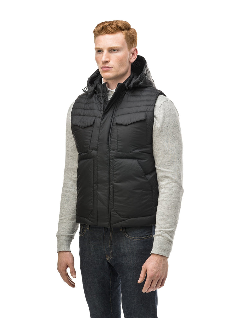 Men's lightweight vest with accents like our removable hood and chevron quilting in Nt Navy