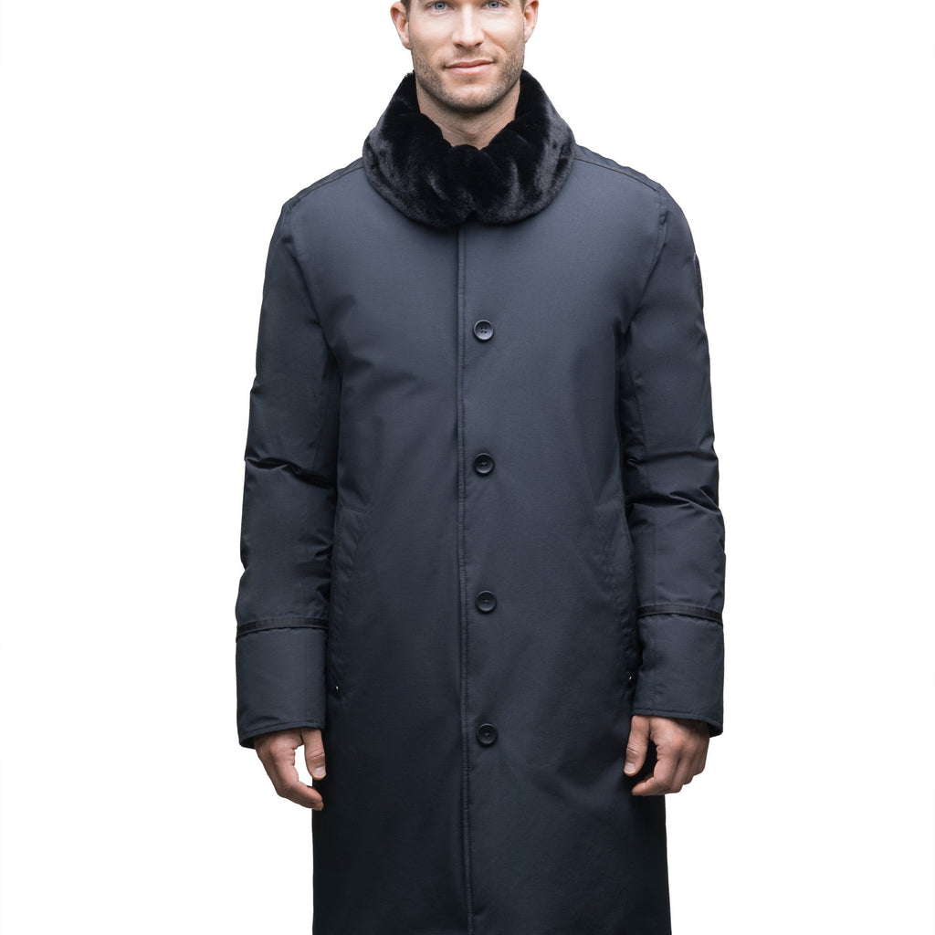 Men's long down filled overcoat with faux fur trim in Cy Black