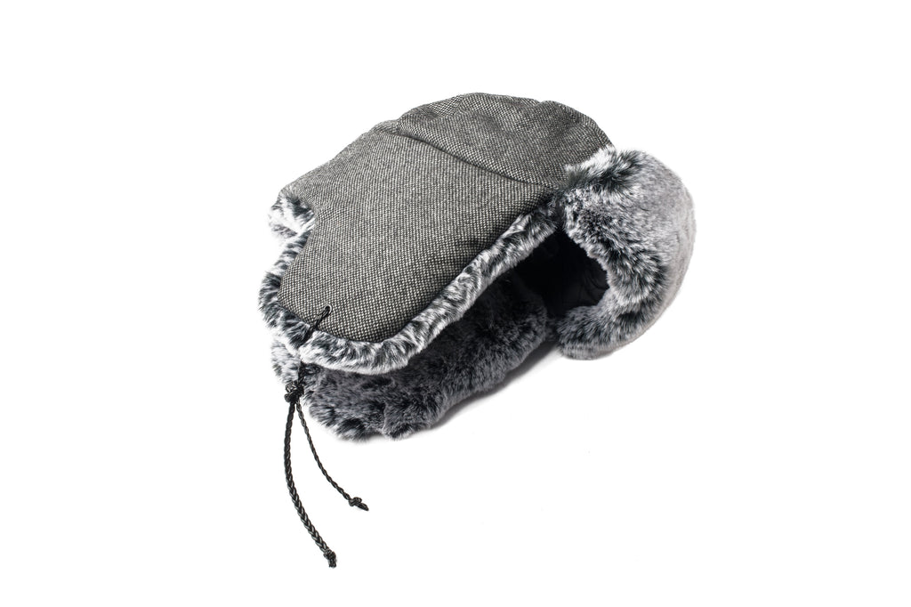 Grey Tweed wool fargo hat with silver faux rabbit fur lining and trim.