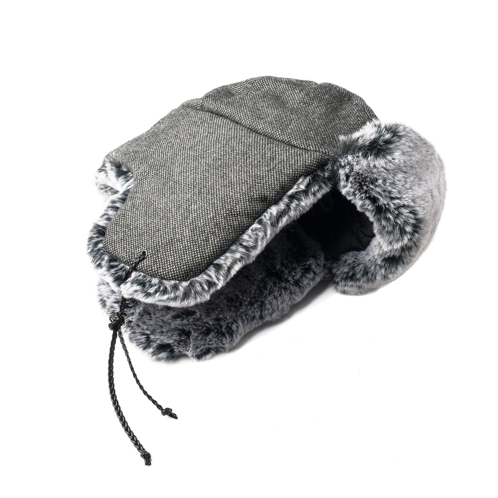 Grey Tweed wool fargo hat with silver faux rabbit fur lining and trim