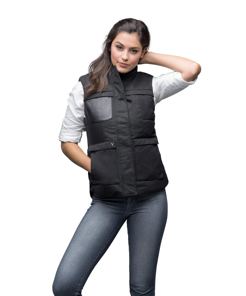 Women's down filled vest that features a 925 Sterling Silver Nobis Skull in Black