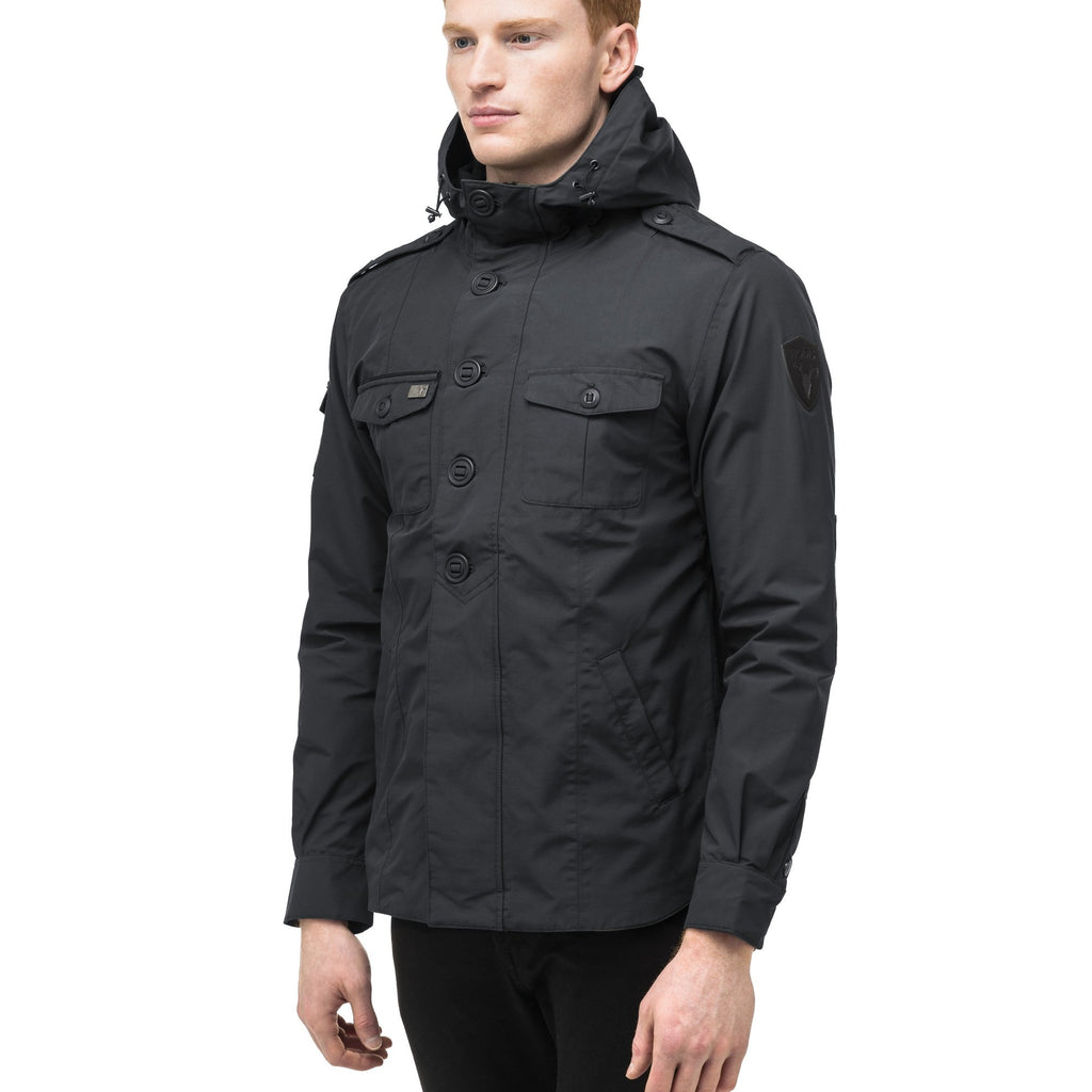 Men's hooded shirt jacket with patch chest pockets in Black