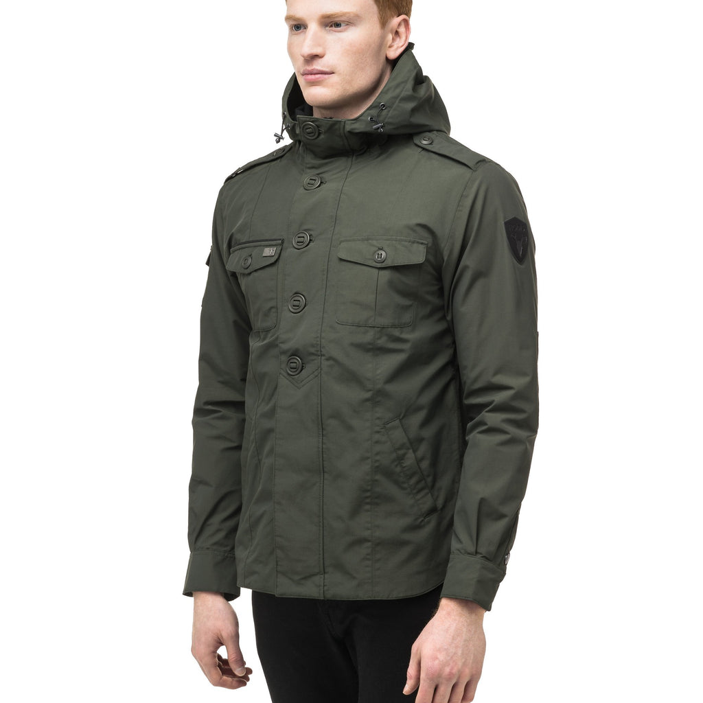 Men's hooded shirt jacket with patch chest pockets in Dark Forest